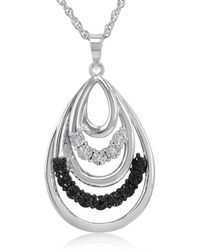 Amanda Rose Collection - Black And White Diamond Tear Drop Pendant-necklace In .925 Sterling Silver - Lyst