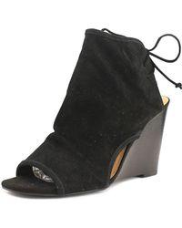 Tahari - Margo Women Open Toe Suede Black Wedge Sandal - Lyst
