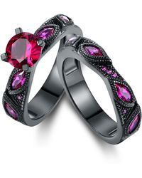 Peermont - Black Rhodium Pin. K Sapphire Engagement Rin. G Set - Lyst
