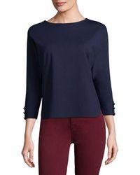 Three Dots - Curved Hem Sweater - Lyst