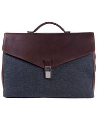 Brunello Cucinelli - Gray Wool Brown Leather Classic Briefcase - Lyst