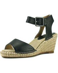 Johnston & Murphy - Angela Women Open Toe Leather Black Wedge Sandal - Lyst