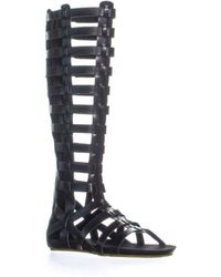 MIA - Glitterati Knee High Gladiator Flat Sandals, Black - Lyst