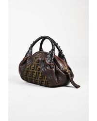 """Fendi - 1 Brown Leather Olive Green Zucca Print Canvas """"baby Spy"""" Double Handle Bag - Lyst"""