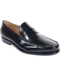 Tod's - Tods Mens Black Boston Polished Leather Penny Loafers - Lyst