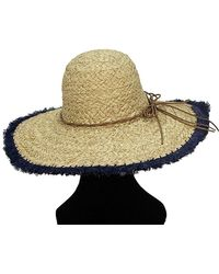 La Fiorentina - Oversized Straw Hat With Blue Rim And String Tie - Lyst