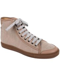 Brunello Cucinelli - Women's Brown Lace Up Canvas Trainers - Lyst