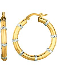 Jewelry Affairs - 14k Yellow And White Gold Diamond Cut Fashion Sparkle Hoop Earrings, Diameter 25mm - Lyst