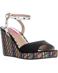 Betsey Johnson - Dotie Ankle Strap Wedge Sandals, Black - Lyst