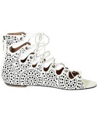 a4444991109ca Alaïa Bronze Leather Thong Flat Sandals in Metallic - Lyst