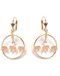 Peermont - Gold & Crystal Elephant Drop Earrings - Lyst