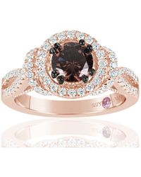 Suzy Levian - Rose Sterling Silver Brown Chocolate And White Cubic Zirconia Engagement Ring - Lyst