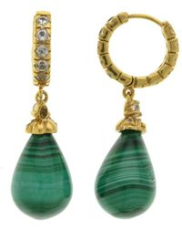 Pangea Mines - 1.5 Inches Malachite & White Topaz Drop Earrings - Lyst