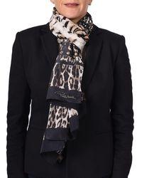 Roberto Cavalli - Women's Leopard Skin Patterned Silk Scarf Brown - Lyst