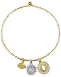 Catherine Malandrino - Talisman Charm Bangle In Yellow And White Sterling Silver - Lyst