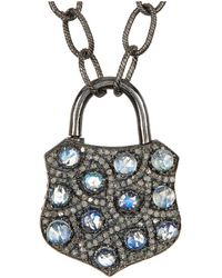 Adornia - Moonstone And Champagne Diamond Sargent Lock Necklace - Lyst