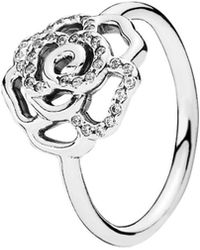 PANDORA - Silver Cz Shimmering Delicate Rose Ring - Lyst