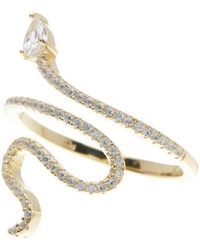 Adornia - Yellow Gold Vermeil And Swarovski Crystal Snake Ring - Lyst