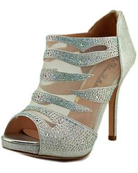 De Blossom Collection - Yael Women Open-toe Canvas Silver Heels - Lyst