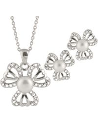 Splendid - Fancy Sterling Silver 2 Piece Freshwater Pearl Set With Matching Pendant And Earrings - Lyst