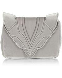 Elena Ghisellini - Women's Silver Velvet Clutch - Lyst