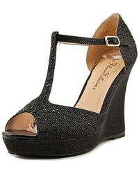 De Blossom Collection - Alina-7 Women Open Toe Synthetic Black Wedge Heel - Lyst