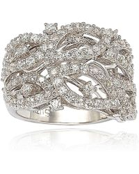 Suzy Levian - Pave Cubic Zirconia Sterling Silver Pave Leaf Ring - Lyst