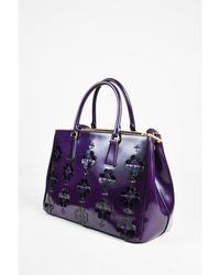 44b198a3aad5 Prada - 1 Purple Black Leather Floral Applique Spazzolato Bauletto Tote Bag  - Lyst