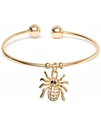 Peermont - Gold And Swarovski Elements Spider Charm Cuff - Lyst