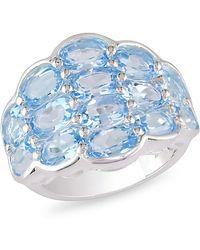 Catherine Malandrino - Oval Blue Topaz Pave Semi Bezel Ring - Lyst