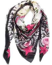 Givenchy - Women's Chain Border Floral Pattern Cotton Scarf Large - Lyst