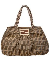 447a5c14ad20 Fendi Tobacco Zucca and Leopard Canvas Chef Shoulder Bag in Brown - Lyst