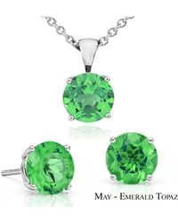 Suzy Levian - 18k Goldplated Sterling Silver 3ct Emerald Topaz May Birthstone Set Made With Swarovski Gemstones - Lyst