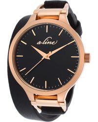 A_line - Gemini Black Genuine Leather Wrap-around Rose-tone Case - Lyst