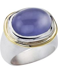 Jewelista - Sterling Silver, 18k Gold And Chalcedony Ring - Lyst