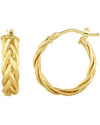 JewelryAffairs | 14k Gold Yellow Finish Hoop Fancy Earrings, Diameter 15mm | Lyst