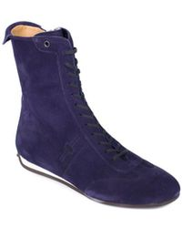 Car Shoe - By Prada Purple Suede Lace Up High Top Sneakers - Lyst