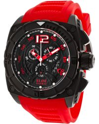 Elini Barokas - Commander Chronograph Red Silicone Black Dial And Ip Ss - Lyst