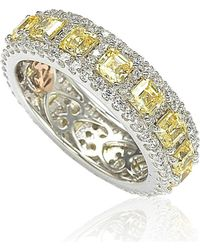 Suzy Levian - Sterling Silver Cubic Zirconia Yellow And White Modern Eternity Band - Lyst