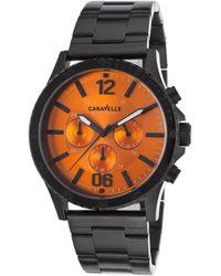 Caravelle NY - Men's Chronograph Black Ip Ss Orange Dial Black Ip Ss - Lyst