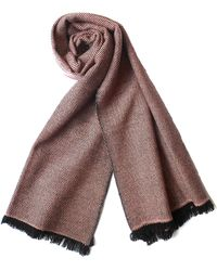 Plush Cashmere - Black And Pink Twill Weave Cashmere Stole - Lyst