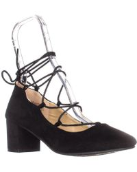 Wanted - Shoes Abby Lace Up Ankle Tie Chunky Heel Pumps, Black - Lyst