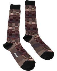 Missoni - Gm00cmu5241 0004 Burgundy/tan Knee Length Socks - Lyst