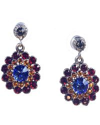 Otazu - Clear Swarovski Crystal Flower Drop Earring - Lyst