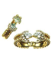 Otazu - Swarovski Crystal Encrusted Gold Tone Cuff - Lyst