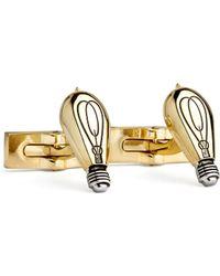 Robert Graham - Light Bulbs Cufflink In Gold And Rhodium Plating - Lyst