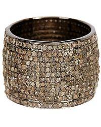 Vanhi - Silver Diamond Cigar Band Ring - Lyst