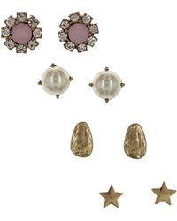 Sparkling Sage - 14k Plated Crystal & Resin Set Of 4 Studs - Lyst