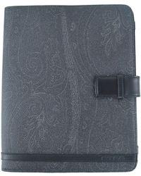 Etro - Black Paisley Print Black Leather Panelled Ipad Case - Lyst