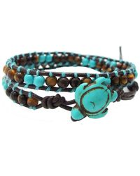 Aeravida - Ocean Sea Turtle Reconstructed Turquoise Double Wrap Leather Bracelet - Lyst